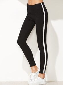Black Contrast Side Stretch Leggings