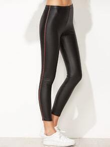 Black Faux Leather Tape Side Skinny Leggings