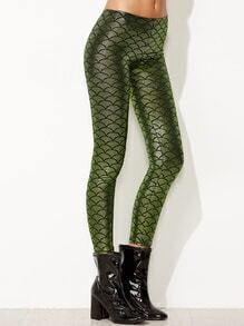 Green Fish Scale Print Skinny Leggings