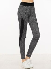 Grey Contrast Panel Skinny Leggings
