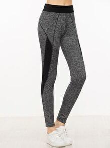 Grey Contrast Panel Skinny Leggings
