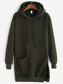 Dark Green Slit Side Pocket Drawstring Hooded Long Sweatshirt