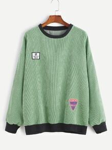 Green Contrast Trim Corduroy Drop Shoulder Patches Sweatshirt