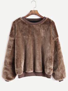 Khaki Dropped Shoulder Seam Fuzzy Sweatshirt