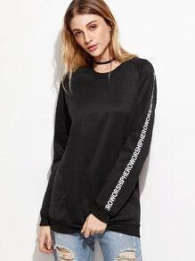 Black Letter Print Raglan Sleeve Sweatshirt