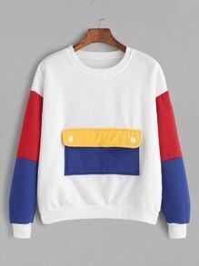 Contrast Dropped Shoulder Seam Pocket Sweatshirt