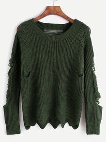 Army Green Wave Hem Distressed Sweater