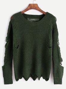 Army Green Wave Hem Distressed Sweater
