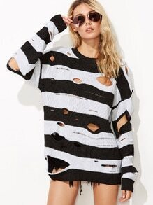 Black White Wide Striped Drop Shoulder Ripped Sweater