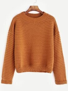 Brown Dropped Shoulder Seam Long Sleeve Sweater