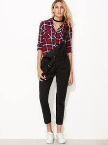 Black Strap Button Side Pockets Overall Jeans