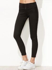 Black Button Embellished Skinny Pants