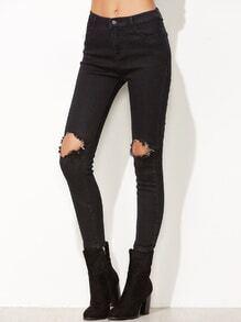 Skinny Jeans Knie mit zerrissen-schwarz