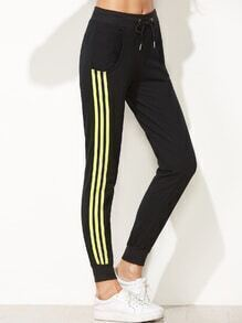 Black Striped Side Tie Waist Beam Port Pants