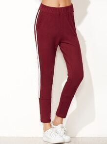 Burgundy Striped Side Elastic Waist Pants