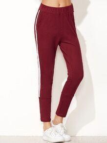 Burgundy Striped Side Elastic Waist Pants
