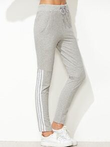 Pale Grey Striped Side Drawstring Waist Pants