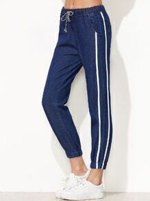 Dark Blue Striped Side Drawstring Waist Beam Port Jeans