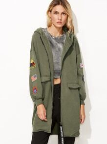 Army Green Print Back Drop Shoulder Patches Hooded Jacket