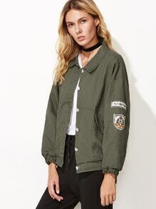 Army Green Drop Shoulder Embroidered Patches Jacket