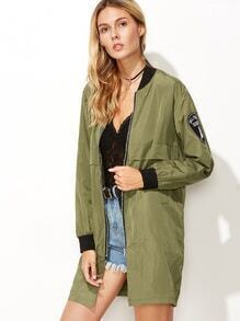 Army Green Contrast Trim Sleeve Patch Zipper Jacket