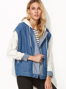 Blue Contrast Drawstring Hooded 2 In 1 Denim Jacket