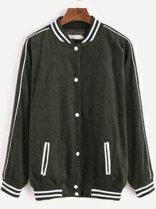 Dark Green Corduroy Striped Trim Baseball Jacket