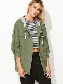Army Green Frayed Trim Military Jacket With Contrast Hood