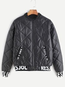 Black Contrast Letter Print Trim Quilted Jacket