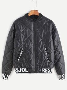 Black Contrast Letter Print Trim Quilted Jacket