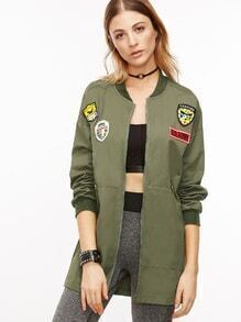 Army Green Drop Shoulder Embroidered Patches Long Jacket
