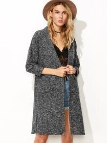 Grey Dropped Shoulder Seam Slit Side Pocket Coat