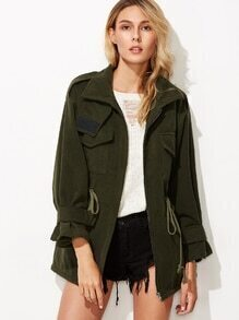 Army Green Drop Shoulder Drawstring Waist Velcro Detail Coat