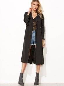 Black Drop Shoulder Slit Back Single Button Drawstring Coat