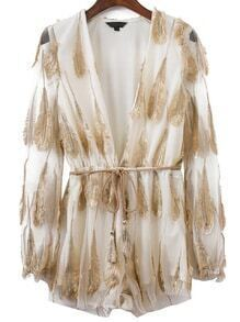 White Feather Detail Deep V Neck Self Tie Romper