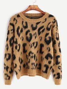 Khaki Leopard Print Long Sleeve Sweater