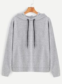 Pale Grey Overlap Back Drawstring Hooded Sweatshirt