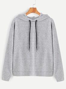 Pale Grey Overlap Back Drawstring Hooded Sweatshirt