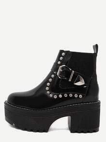 Black Patent Leather Buckle Strap Platform Booties