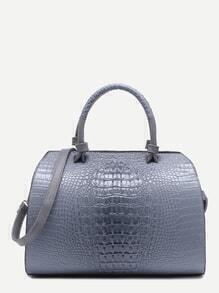 Grey Croc Embossed Leather Front Zipper Bowling Bag