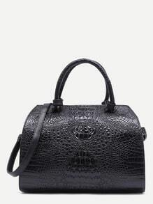 Black Croc Embossed Leather Front Zipper Bowling Bag