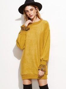 Yellow Drop Shoulder Contrast Cuff Sweatshirt Dress