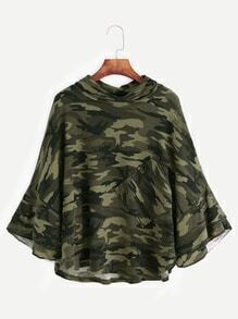 Camo Print Turtleneck Tiered Ruffle Sleeve Cape T-shirt