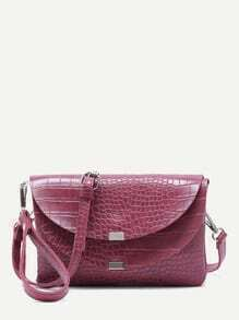 Maroon Croc Embossed Leather Flap Envelope Bag