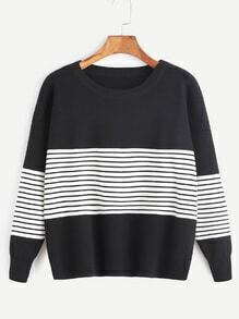 Contrast Striped Trim Drop Shoulder Sweater