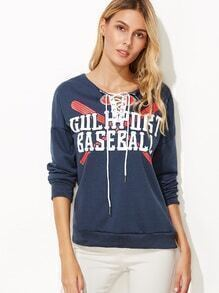 Navy Letter Print Lace Up Sweatshirt