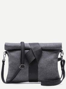 Black Roll Top Linen Texture PU Leather Clutch Bag With Strap