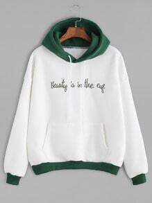 Color Block Slogan Embroidered Hooded Sweatshirt