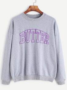 Grey Letter Print Drop Shoulder Sweatshirt