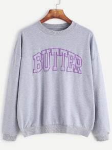 Grey Letter Print Drop Shoulder Sweatshirt